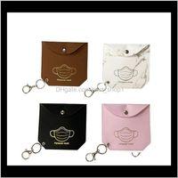 Housekeeping Organization Home & Gardenmask Bag Pu Leather Clip Mask Storage Bags Portable Girls Keyring Holder Dustproof Masks Card Er Aess
