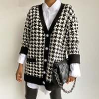 Women's Sweaters Neck Women Button Black Houndstooth Cardigan Long Sleeve Sweater Autumn Winter Knitted Loose Oversized Jumper Casual