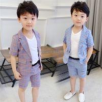 Sets Boys Summer Formal Suit Blazer+Shorts 2PCS Clothing Set Gentleman Kids Wedding Dress Enfant Garcon Mariage Party Wear C0225