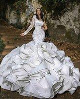 2021 Elegant Wedding Dresses One Shoulder Long Sleeve Mermaid Bridal Gowns Custom Made Lace Appliques Beads Sweep Train Wedding D
