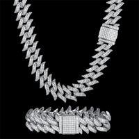 Pendant Necklaces 100% Zircon CZ Hip Hop Miami Cuban Link Chain 18mm Bramble Bracelet Men Necklace Drop Fashion Bling Party Jewelry