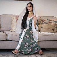 Сискакия Этническая лента Maxi длинное платье осень 2020 свободно мусульмана Jalabiya Abaya платья V шеи полные рукава арабская исламская одежда