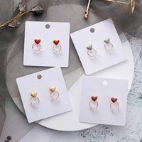 Stud Sweet Heart Girls Earrings Simple Round Crystal 925 Sterling Silver Cute Student Jewelry 2021 Female Fashion Gift