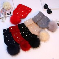 Beanies Wool Hat Korean Women's Autumn winter Fashion With Beaded Knitted Thick Ball Cap 2021 Stock