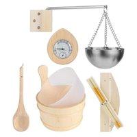 Buckets Wooden Sauna Bucket Stream Spa Accessories 5 PCS Set Of Stainless Steel Oil Holder Hourglass Hygrometer Ladl