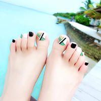 Falsche Nägel Korean Resort Wind Beach Twill Toenail Patch Full Cover Für Beauty Art Tipps Sommer Mode Grünfuß