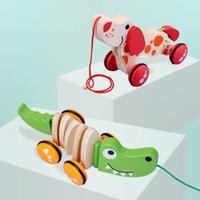 Children's Educational Animal Animal Dog Crocodilo Pull Twist Twist Carro De Madeira Bebê Criança Arrastar Brinquedo 0-3 Anos Antigos