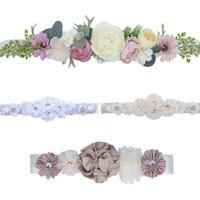 Wedding Sashes Fashion Handmade Silk Rose Waist Belts Pearl Rhinestone Flower Belt Bridal Waistband For Women Party Dress Accessories