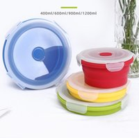 Silicone Floding Lunch Boxes Round Collapsible Bento Box Folding Food Container Bowl 400 600 900 1200ml for Dinnerware