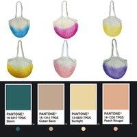 Reusable Tie Dye Mesh Grocery Bags Washable Woven String Net Shopping Handbags Shopper Home Fruit Vegetable Market Storage Tote