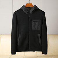 Autumn and winter high quality menswear designer luxury jacket fashion stitching pocket zipper black casual hooded mens knitted coat