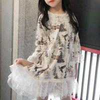 Girl's Dresses Girl Dress Kids BabyParty Evening Gown 2021 Printed Warm Plus Velvet Thicken Winter Autumn Princess Cotton Children Clothing