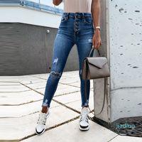2021 Spring Autumn High Street Elasticity Skinny Jeans Women Fashion Hole Bleached Vintage Push Up Slim Denim Pants Femme