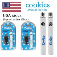 Cookies Vape Pen Battery 350mah Variable Voltage Preheating 510 Batteries with USB Charger Plastic Box Packaging for Electronic Cigarettes Starter Kits USA Stock
