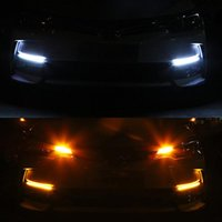 Car LED DRL Daytime Running Lights, Waterproof And Flexible 12V Decorative Headlights, Turn Signal Yellow Flow Day Lig Emergency Lights