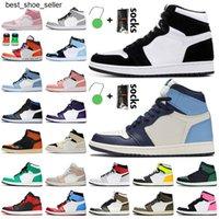 2021 Горячие Продажи Jumpman 1 1S Высокий OG Twists Obsidian UNC 1S Баскетбольные Обувь Мелодия Бесстрашные Темные Мокча Валентина Тренеры Кроссовки