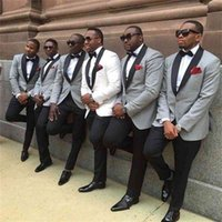 2021 One button slim fit groom tuxedo White light grey Jacket+Pants mens Tuxedos with Black lapel best men suits Custom Made Groomsmen suits