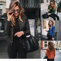 2020 Fashion Designer Women Fall Winter Short Suit Jacket Autumn Womens All-match Blazer Jackets Lady PU Leather Coats Outerwear 12 Colors