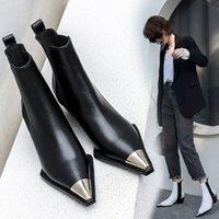2020 Doğal Hakiki Deri Çizmeler Kadınlar Metal Sivri Burun Bayanlar Ayak Bileği Çizmeler Kadın Kare Topuklu Bahar Sonbahar Ayakkabı Botas Mujer Batı Çizmeler Ayakkabı SH 818F #