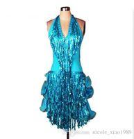 Free Ship 8color Red Blue Green Adult  Girl Latin Dance Dress Sequin Tassel Salsa Tango Cha Cha Ballroom Competition Practice Dance Dress