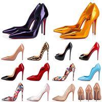 2021 Stili di scarpe eleganti con tacco alto Fondo rosso Tacchi a spillo da donna Luxury Designer in vera pelle 8 10 12 Cm Décolleté con punta a punta Mocassini 35-42
