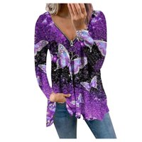 Women's Blouses & Shirts Autumn 2021 Sexy T-shirt Printed V-neck Zipper Strapless Long-sleeved Plus Size Casual Loose Fashion