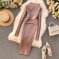 Vintage Slim Bandage Midi Pencil Dresses Autumn Winter Bodycon Knitted Sweater Party Women Club Knee Length Dress