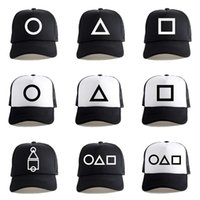 Unisex Squid Game Ball Hat Mesh Patchwork Triangle Circle Square Print Baseball Cap Adjustable Snapback Sun Visor Outdoor Sports Hat Related Products G01XMN8