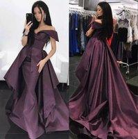 2019 Nueva sirena vestidos de fiesta oscuro Borgoña con tren Long Train Off Hombro Satin Ruffles Vestidos formales fruncidos Vestidos de fiesta de noche