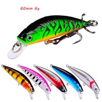 6 Color Mixed 60mm 6g Minnow Hard Baits & Lures Fishing Hooks 8# Blood Slot Hook Pesca Tackle Accessories WA_658