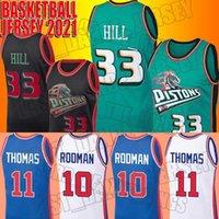 Gerileme Isiah 11 Thomas Jersey Dennis 10 Rodman Formaları Grant 33 Hill Jersey DetroitPistonJersey ZXCVA