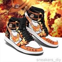 Sneakers DIY Anime portgas-d-ace Mens Womens Sports Shoes Jumpman 1 Model Custom Trainers Casual Running-Shoes