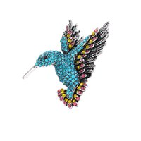 Fashion Delicate Hummingbird With Diamonds Brooches Crystal Pin Brooch For Women Pendant Jewelry Accessories Gift