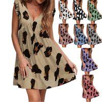 Casual Dresses 2021 Summer V-neck Lotus Leaf Short Sleeve Leopard Print Dress Clothing Ladies