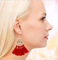 Bohemian Long Statement Tassel Drop Earrings Luxury Resin Beads Crystal For Women 13Color Choice Dangle & Chandelier