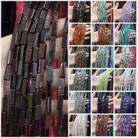 Piedra natural Cuentas esparcidas rectangulares Águiles de cristal Cuentas de cadena de cristal para joyería Fabricación de bricolaje Accesorios de pulsera 4x13mm 889 T2
