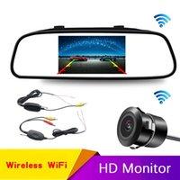 Vue arrière de la voiture Caméras Capteurs de stationnement Caméra WIFI Kit de câblage sans fil 2.4GHz DC 12V émetteur / récepteur miroir