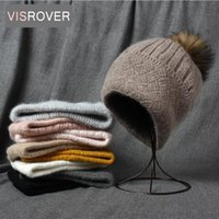 Beanie Skull Caps VISROVER 10 Cashmere Unisex Woman Winter Hat With Weave Autumn Beanies Pompom Warm Wool Skullies Gift