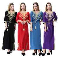 Femmes musulmanes manches longues à manches longues Vêtements islamiques Caftan Caftan Marocain Maxi / Long Abaya Turc Turkish Robethnique Style Hijab