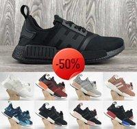 NMDs R1 Mens Running Shoes Primeknit Japan Triple Black White Sneakers Monochrome Lush Red Blanch Blue Women Walking Shoe
