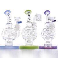 Royal 6'' Egg Rig Glass Bongs Hookahs Swiss Perc Recycler Water Pipes 14.5mm Joint with Quartz Banger Showerhead Percolator Dab Rigs