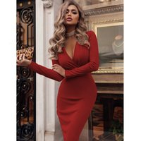 Maxi Dresses for Women Bodycon Sexy Night Dress Party 2021 Summer Casual Solid Color Long-sleeve V Neck Evening Office Dresses