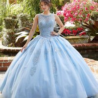 Light Sky Blue Quinceanera Dresses 2021 O-Neck Lace Beads Sequins Backless Princess Party Sweet 16 Ball Gown Vestidos De 15 Años