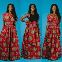 Robe longue 2019 Fashion Robes africaines pour femmes Traditionnel Dashiki Print Bazin Dentelle Parti décontracté Bohême Maxi Vêtements africains R6RZ #