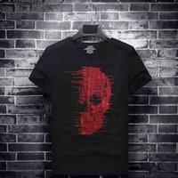 Plus Size Red Skull Rhinestones T Shirts Men Short Sleeve Fashion Streetwear O Neck Modal Cotton Tshirts Calaveras Camiseta