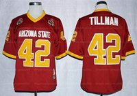Vintage 1997 Rose Bowl College Football Jersey Sun Devis asu Pat Pat Pillman 42 Maroon Mens Nähte Top Qualität Hemden