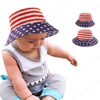 Весна Летние Родитель-Детский Рыбак Шляпа Американский флаг Печатные Детские Шляпы Младенческие Мальчики Девочки Ведро Крышки Солнца Шляпы для детей