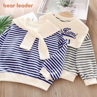 Bear Leader Girls Boys Striped Hoodies 2021 New Fashion Kids Baby Letter Print Sweatshirts Casual Korean Style Clothes for 2-7y G0908