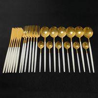 Dinnerware Sets 24Pcs White Gold Cutlery Set Kitchen Tableware Stainless Steel Knife Fork Spoon Dinner Dishwasher Safe