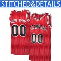 Özel DIY Tasarım Chicago Herhangi sayıda Jersey 00 Mesh Basketbol Kazak Kişiselleştirilmiş Dikiş Takımı Adı ve Numbe Kırmızı Beyaz Siyah 2021 99